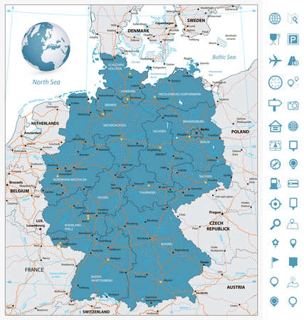 frankfurt: Highly detailed road map of Germany with rivers and navigation icons. illustration. Illustration