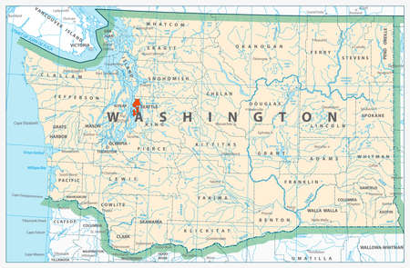 oregon coast: Washington state detailed map with rivers, lakes and cities.