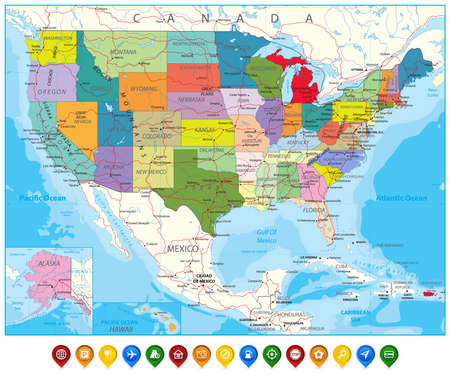 Highly detailed political world map with capitals rivers separated usa political road map and map pointers with roads water objects and cities vector gumiabroncs Choice Image
