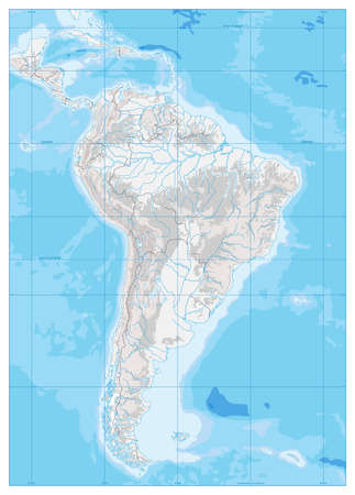 South America Detailed Physical Map with global relief, lakes and rivers. Highly detailed vector map.