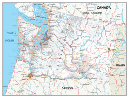 Washington physical state map with a main relief, rivers, lakes and highways. White and grey. Stock Photo