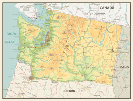 Physical Map Of Washington State With A Main Relief Rivers Stock
