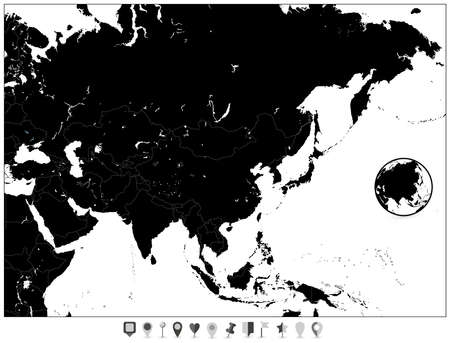 Blank Map Of Asia And Flat Map Pointers. Vector Illustration. Stock ...