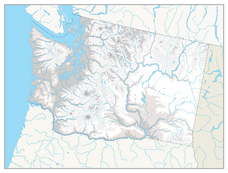 Washington physical state map with a main relief, rivers, lakes and highways. White and grey.No text.