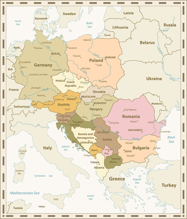 Central Europe Map Retro Colors. Vector illustration. Stock Photo