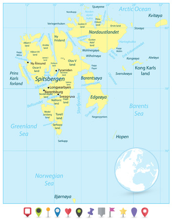 Svalbard Map and Flat Map Pointers. Vector illustration. Stock Photo