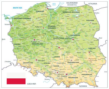 Mapa físico de Polonia aislado en blanco. Ilustración de vector de mapa muy detallado. La imagen contiene capas con contornos sombreados, nombres de tierras, nombres de ciudades, objetos de agua y sus nombres, carreteras.
