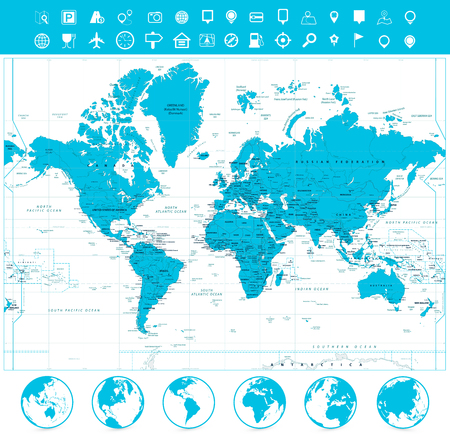 World map and flat globes with labeling. Vector illustration.