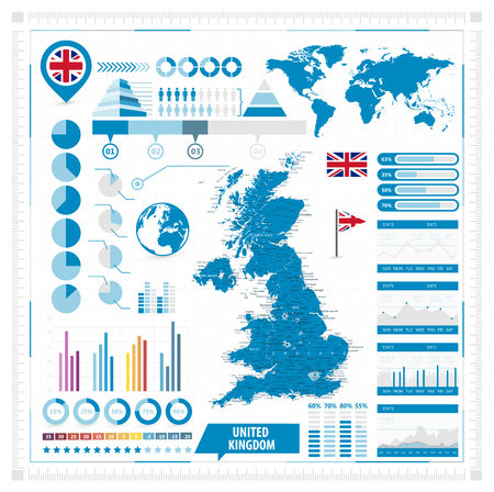 United Kingdom Vector map and infographic elements. Vector illustration.