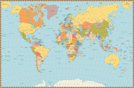 Large detailed vintage color political World Map. Highly detailed vector illustration of World Map.