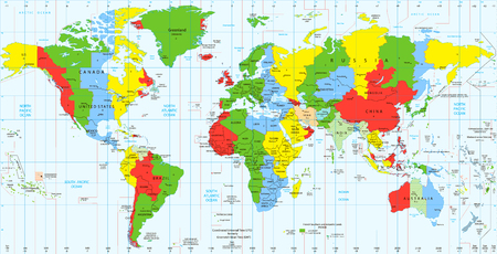 Detailed World map standard time zones. Vector illustration. Archivio Fotografico