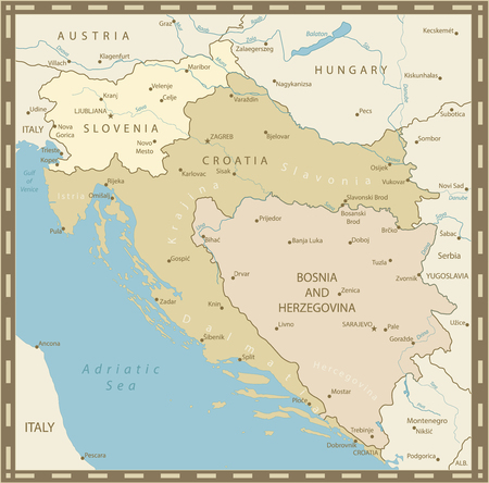 Map of the Western Balkans Vintage Colors. Vector illustration. Stock Photo