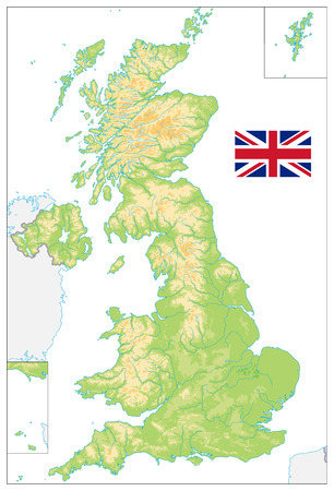 United Kingdom Blank Physical Map isolated on white. Vector illustration.