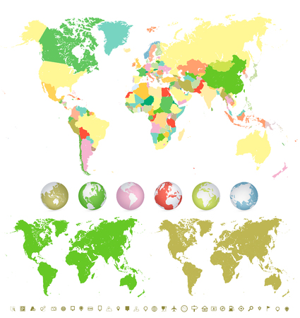 World Maps and colorful 3D globes with navigation icons isolated on white.