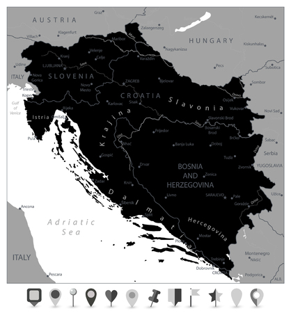 Map of the Western Balkans Black Map and Flat Map Pointers. Vector illustration.