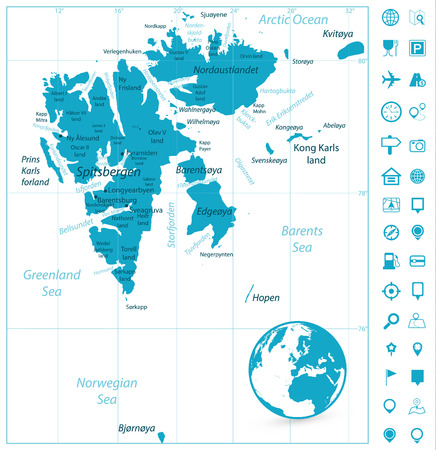 Svalbard Map and Navigation Icons. Vector illustration.