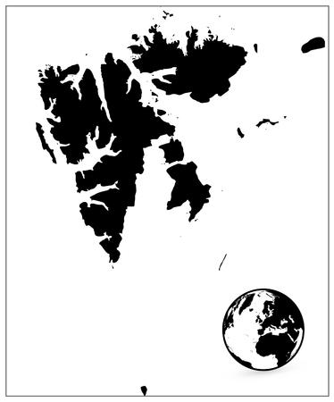 Svalbard Map Black Color. No text. Vector illustration.