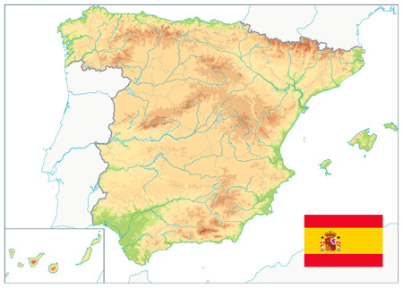 Spain Physical Map Isolated On White. No text. Highly detailed map of Spain. Image contains layers with shaded contours, water objects. Фото со стока - 113963192
