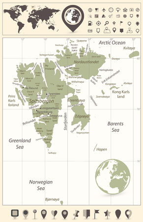 Svalbard Map And World Map With Navigation Icons. Vector ...