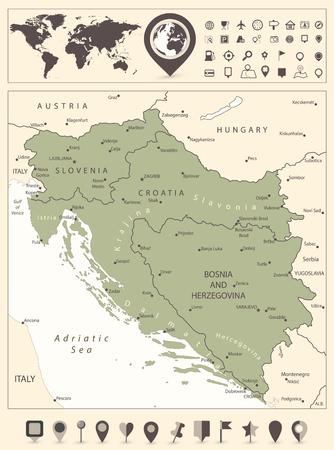 Karte des Westbalkans und Weltkarte mit Navigationssymbolen. Vektor-Illustration.