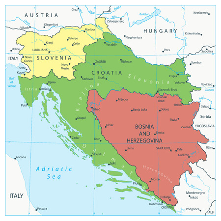 Map of the West Balkans. Vector illustration.