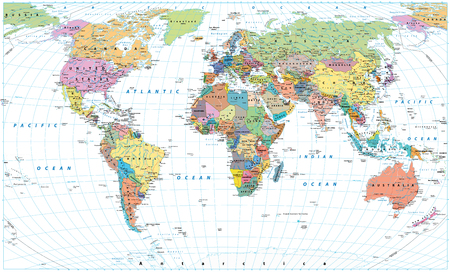 Colored World Map - borders, countries, roads and cities. Isolated on white. Detailed World Map vector illustration.