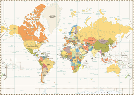 World Map isolated on retro white color background with labeling. Vector illustration.