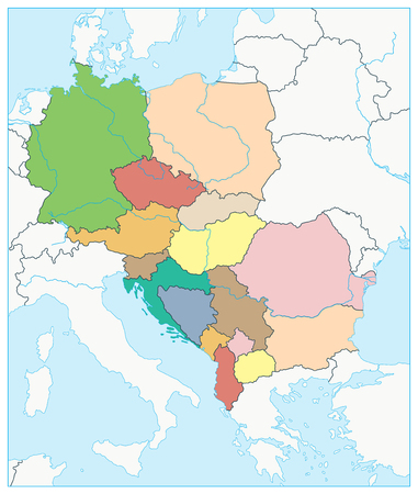 Central Europe Political Map. No text. Vector illustration. 写真素材