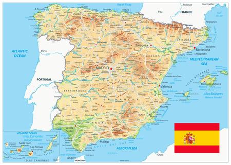 Mappa fisica della Spagna: mappa altamente dettagliata della Spagna. L'immagine contiene livelli con contorni ombreggiati, nomi di terre, nomi di città, oggetti acquatici e relativi nomi, autostrade.