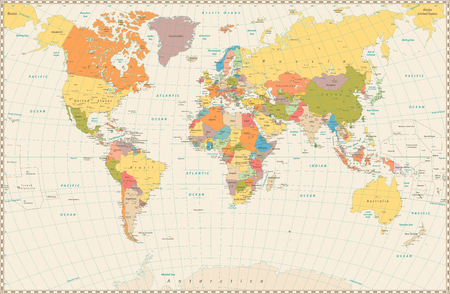 Detailed retro political World Map. Highly detailed vector illustration of World Map. Фото со стока