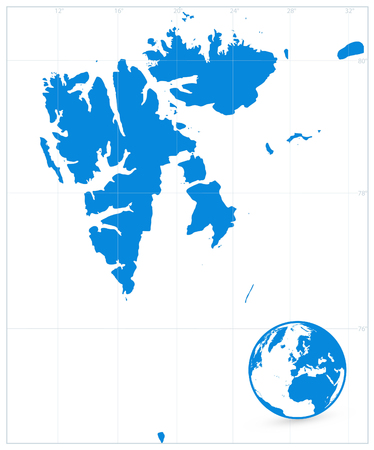 Svalbard Map Isolated On White. No text. Vector illustration.