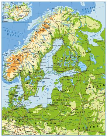 Physische Karte Nordeuropas. Sehr detaillierte Vektorillustration. Standard-Bild