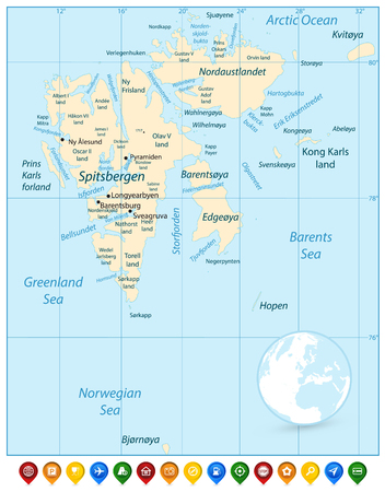 Svalbard Map and Colorful Map Pointers. Vector illustration. Stock Photo
