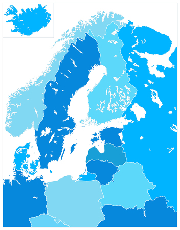 Northern Europe Map in Five Shades Of Blue. No text. Highly detailed vector illustration.