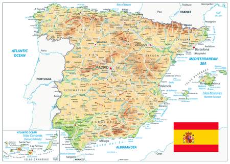 Spain Physical Map Isolated On White. Highly detailed map of Spain. Image contains layers with shaded contours, land names, city names, water objects and its names, highways.