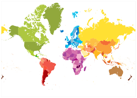 Detailed World Map spot colors. No text. Highly detailed spot colored illustration of World Map.
