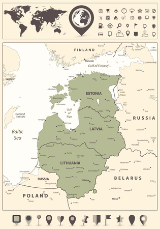 Map of the Baltic States and World Map with navigation icon. Vector illustration.