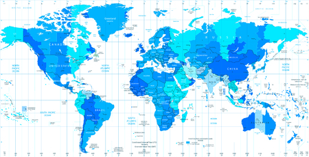 Detailed World map standard time zones in colors of blue
