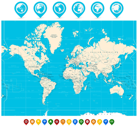 World Map vector illustration and map pointers. Highly detailed World Map: countries, cities, map pointers.