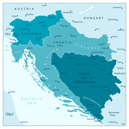 Map of the Western Balkans Aqua Blue Colors. Vector illustration.