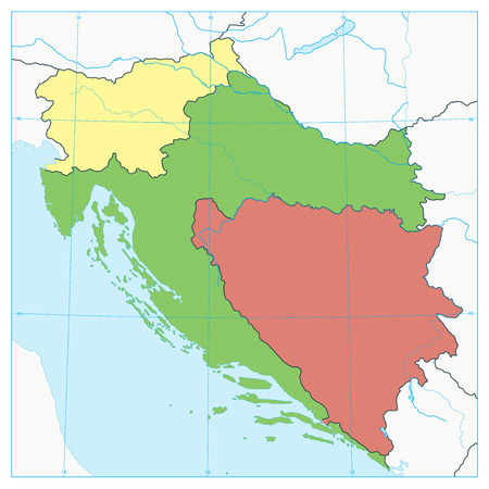 Map of the Western Balkans. No text. Vector illustration.