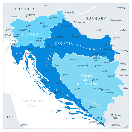 Map of the Western Balkans In Colors Of Blue. Vector illustration.