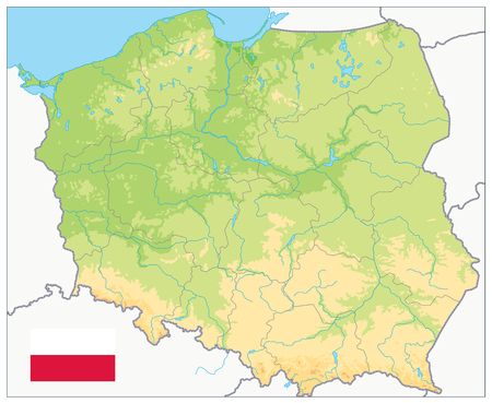 Poland Physical Map. No text. Highly detailed map vector illustration. Image contains layers with shaded contours, water objects.