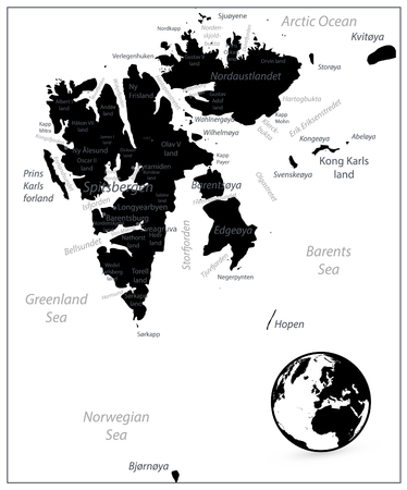 Svalbard Map Black Color. Vector illustration. Stock Photo