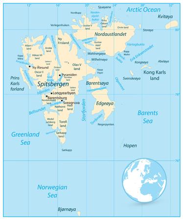 Svalbard Map. Vector illustration.