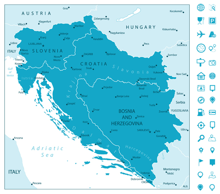 Map of the Western Balkans and Navigation Icons. Vector illustration.