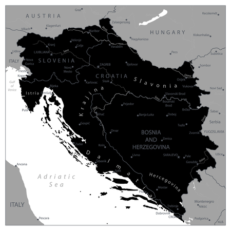 Map of the Western Balkans Black Map. Vector illustration.
