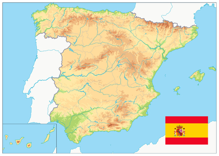 Spain Physical Map. No text. Highly detailed map of Spain. Image contains layers with shaded contours, water objects. Фото со стока