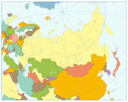 Eurasia political map. No text. Highly detailed vector illustration of map. Stock Photo