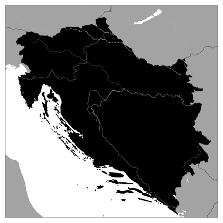 Map of the Western Balkans Black Map. No text. Vector illustration. Stock Photo